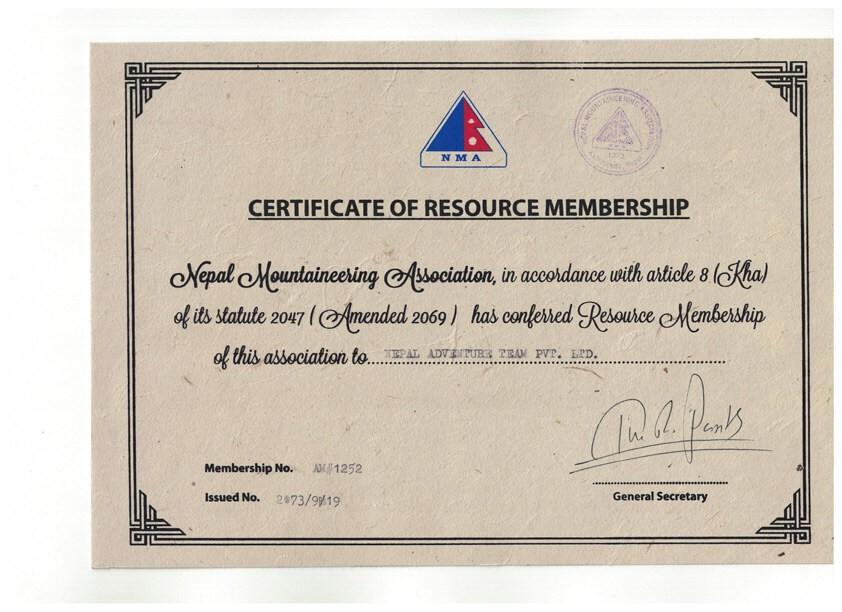 NMA Certificate